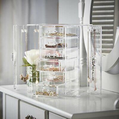 NEW! DELUXE JEWELRY ORGANIZER-ACRYLIC TIERED DRAWER NECKLACE/EARRING DISPLAY
