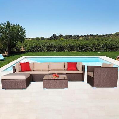 Garden Furniture - 7PCS Outdoor Wicker Sofa Set Patio Rattan Sectional Furniture Garden Deck Couch