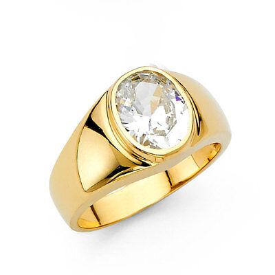 Oversize Men 14k Yellow Real Gold Big CZ Round Polish Fashion Wedding Ring Band