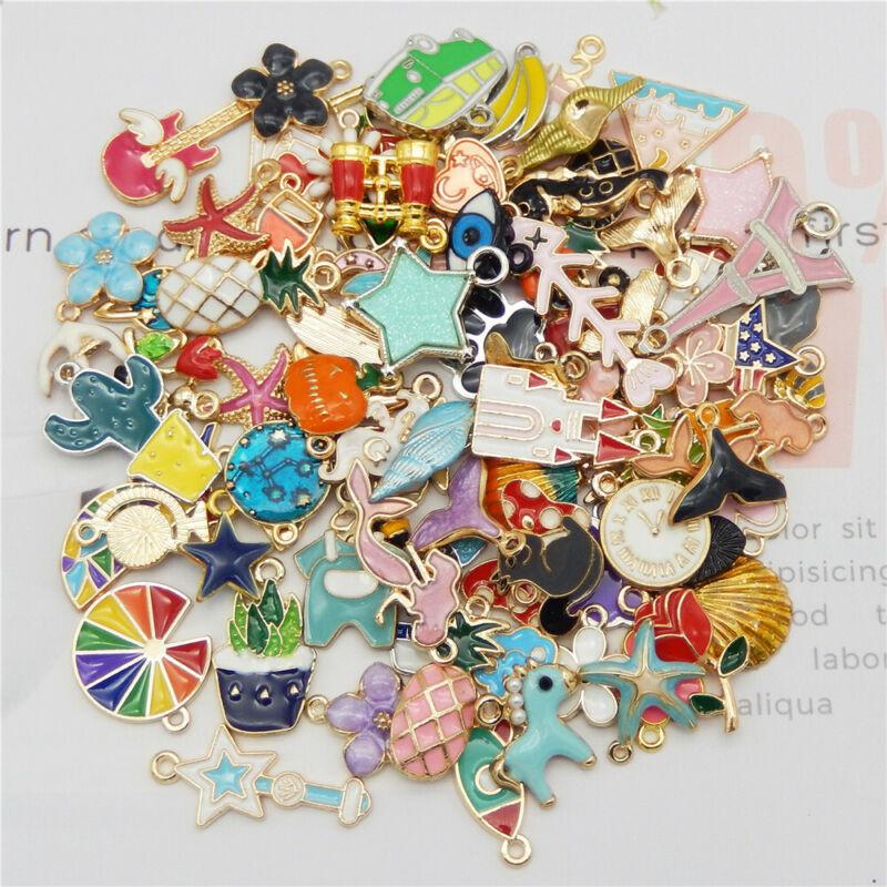 20pcs/pack Enamel Mixed Random Send Alloy Pendant Charms Jewelry DIY Accessories