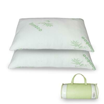 2 Pack Bamboo Memory Foam Pillow King Size Hypoallergenic with Carry Bag -