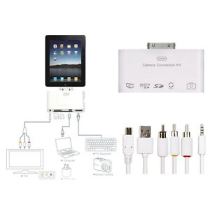 5 in1 Camera Connection Kit Adapter Card Reader USB AV Video Cable for iPad 3 2