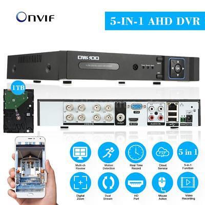 OWSOO 1080N 8 Kanal Digital Recorder DVR HVR NVR mit 1TB Festplatte H.264 K3U9
