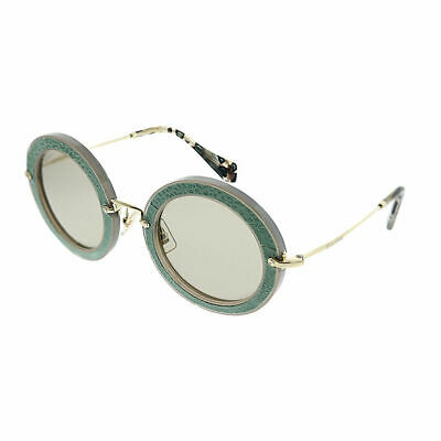 Miu Miu Pavé Evolution MU 08RS U6S5J2 Opal Aqua Green Sunglasses Lite Brown Lens