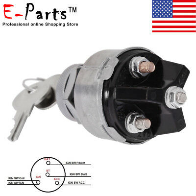 Ignition Switch Car Motorbike Universal 12v 2 Keys 4 Position On Off Start Acc