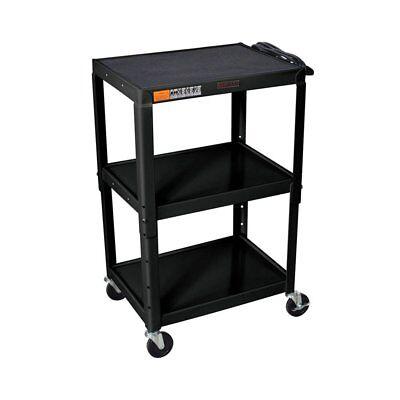 Luxor W42ae Adjustable Height Steel Av Utility Cart With 3-shelves In Black New