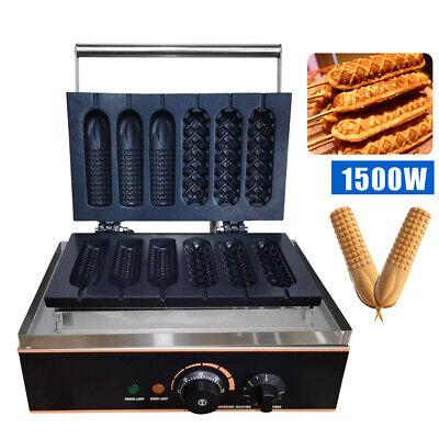 1500w Commercial Electric 6pcs Hot Dog Maker Machine Waffle Baker Nonstick 110v