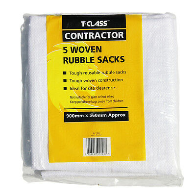5 x T-Class Contractor Rubble Sacks | Tough Woven Reusable Rubble & Waste Bags