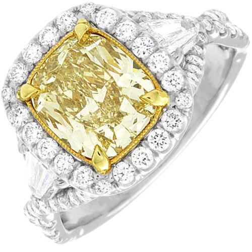 GIA Fancy Yellow Cushion Cut Diamond Engagement Ring 4.30 Carat  Platinum