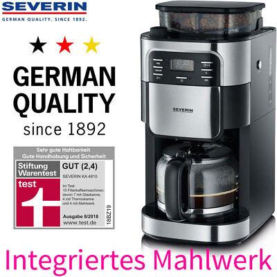 Severin Kaffeemaschine Filter Kaffeeautomat mit Mahlwerk & Glaskanne