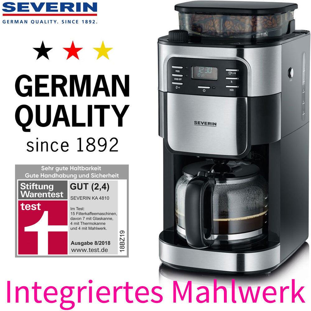 Severin Kaffeemaschine Filter Kaffeeautomat mit Mahlwerk & Glaskanne Kaffeemühle