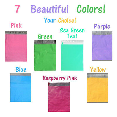 12x15.5 Pinkbluegreenpurpleyellowteal Poly Mailer Colored Shipping Bag New