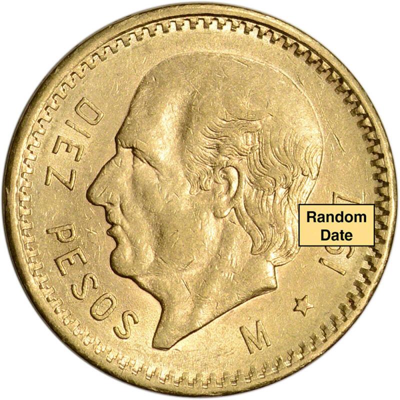 Mexico Gold 10 Pesos - XF/AU - Random Date - 0.2411 oz.