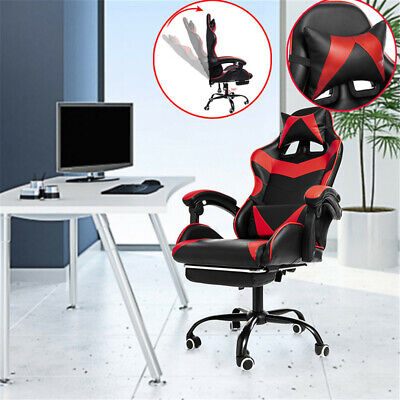 1pc Computer Office Chair 155mobile Recliner High Back Pu Leather Gaming Chair
