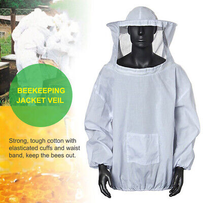New Veil Bee Keeping Suit Beekeeping Jacket Hat Pull Over Smock Protective White