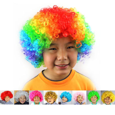 Curly Clown Hair Wigs Afro Circus Dress Up Short Party Halloween Costume Hair