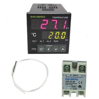 Inkbird 12-24v Digital Pid Temperature Controller Thermostat 25a Ssr Pt100 Probe