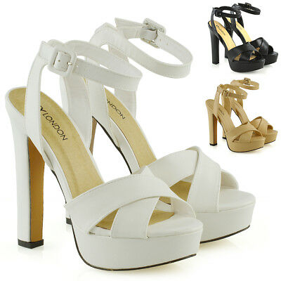 Womens Strappy Platform Block Heel Shoes Ladies Party Prom Opentoe Sandals Size Strappy Platform Heels