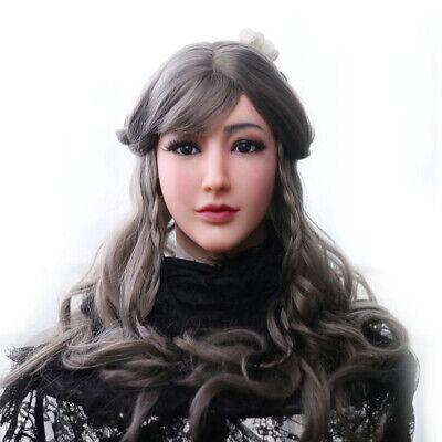 Silikon Headpiece Handgemachte Gesicht für Crossdresser Transvestite Cosplay