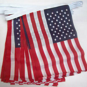 Quality Fabric 10 METRE 33FT 30 BUNTING FLAGS USA AMERICAN STARS & STRIPES