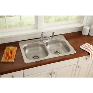 Glacier Bay All In One Top Mount 33x22 4 Hole Double Bowl Sink And Faucet