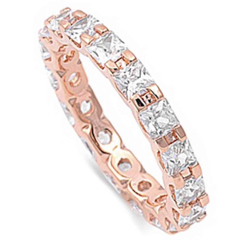 3574d86ab9445 Details about Rose Gold Plated Princess Cut Eternity Band .925 Sterling  Silver Ring Sizes 4-12