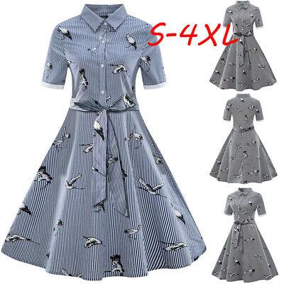 1920S Womens Plus Size Printed Streak Vintage Belt Bandage Shirt Swing Dress HOT - Plus Size 1920s