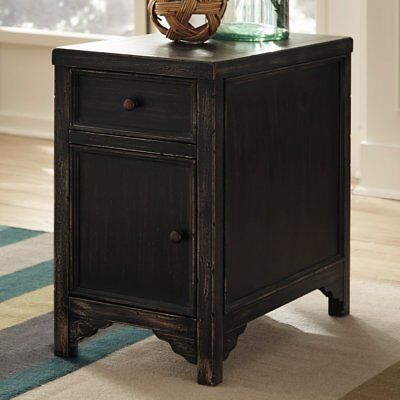 Signature Design By Ashley Gavelston Chair Side End Table, Rubbed Black Finish