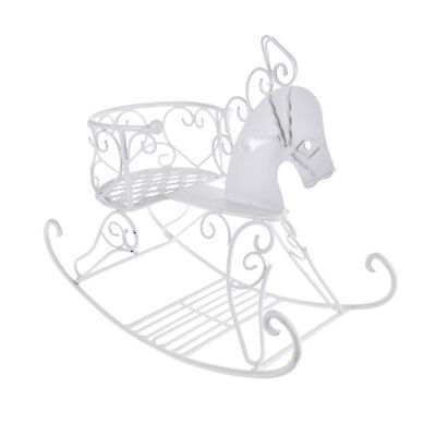 Metal Wire Rocking Horse, White, - Horse Centerpieces