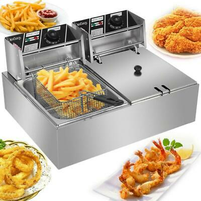 5000W Extra Large Electric Deep Fryer Commercial Restaurant Fry Basket Tank 22L