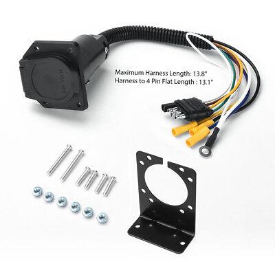 4 Way Flat Plug - 4-Way Flat to 7 Way Round RV Blade Wiring Adapter Trailer Hitch Plug w/ Bracket