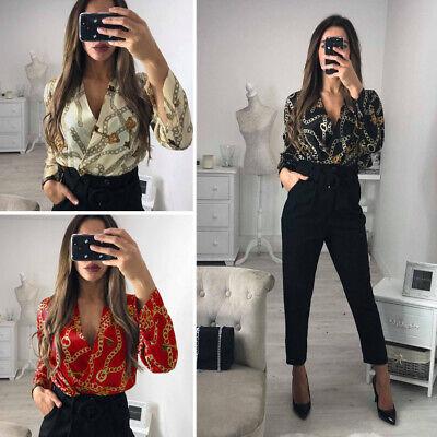 - New Womens Ladies Floral Print Satin Bodysuit Tuxedo Wrap Over Shirt Blouse Top