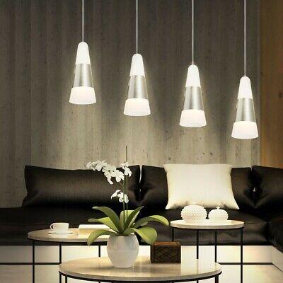 LED 20 Vatios Colgante Péndulo Lámpara Habitación Vestíbulo Plata Blanco 4-flg