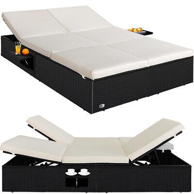 Tumbona doble de poliratán para 2 Personas reclinable sofá cama jardín terraza