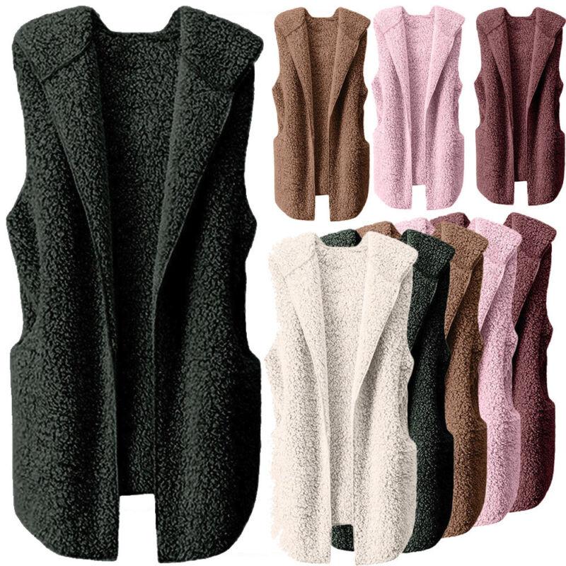 Womens Vest Winter Warm Hoodie Outwear Casual Coat Faux Fur Zip Up Sherpa Jacket