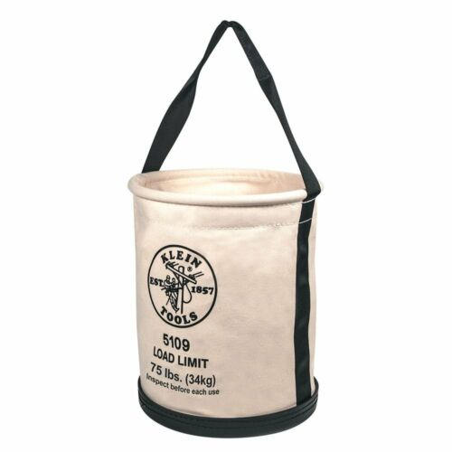 """Klein Tools 5109 15"""" Canvas Wide-Opening Straight-Wall Bucket with Inside Pocket"""
