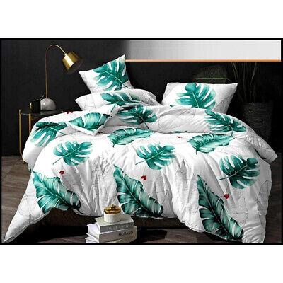 Blätter grün Bettwäsche weiß 160x200 cm 4-teilig inkl. Bettlaken Baumwolle-Satin