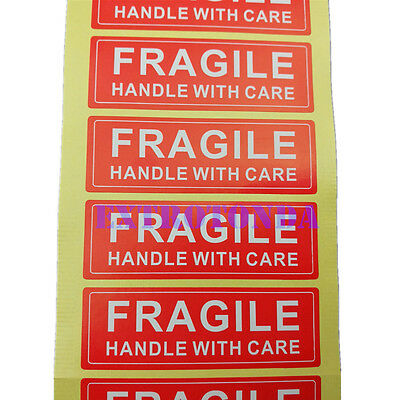 250pcs Fragile Handle With Care Shipping Stickers 1x3 Red 75mm X25mm