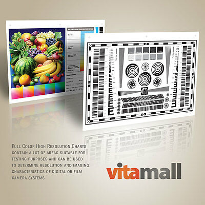 """Set of 9""""x12"""" High Resolution Test Charts for Lenses and Cameras by Vitamall"""
