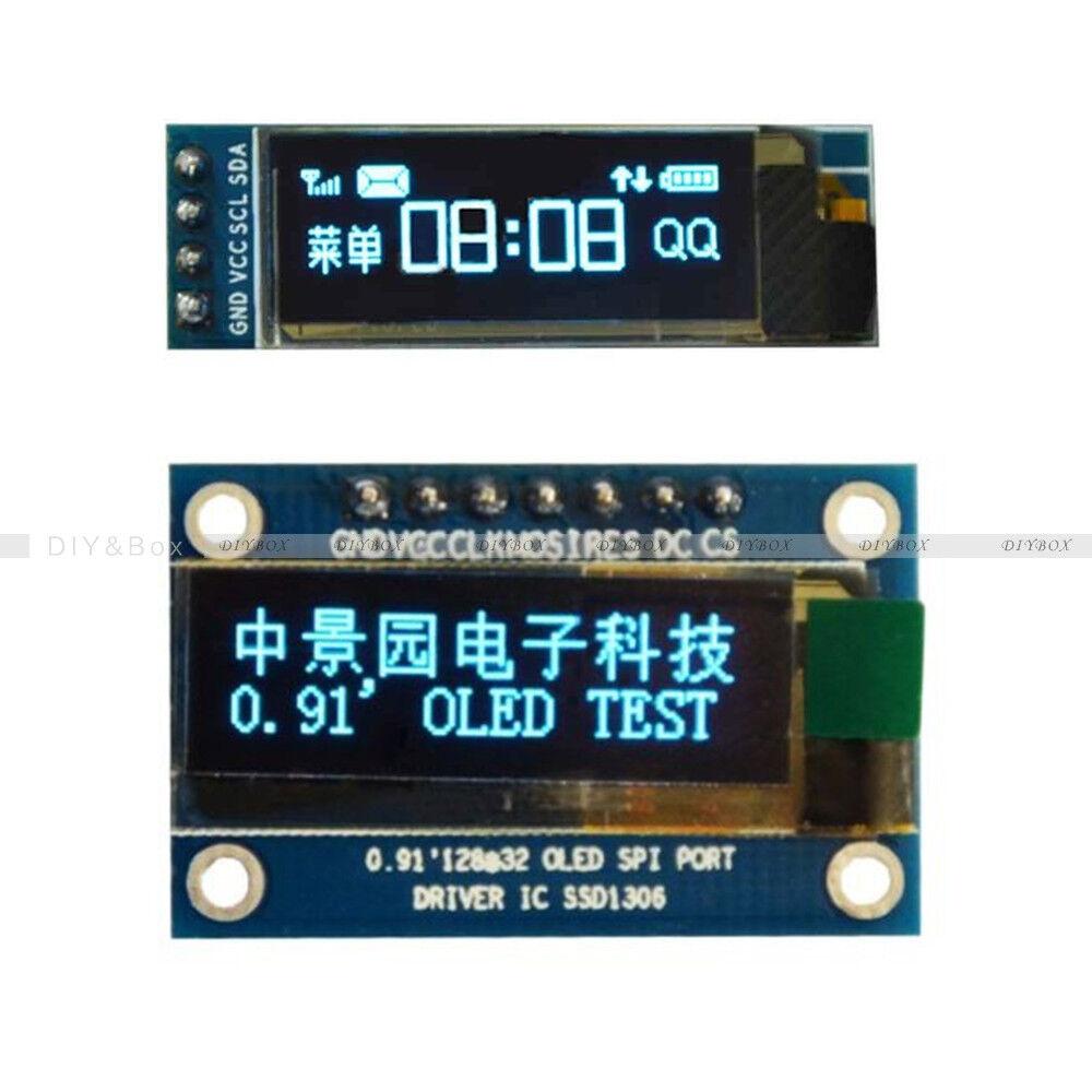 """iic i2c 0.91/"""" 128x32 blue oled lcd display module 3.3v 5v FZ"""
