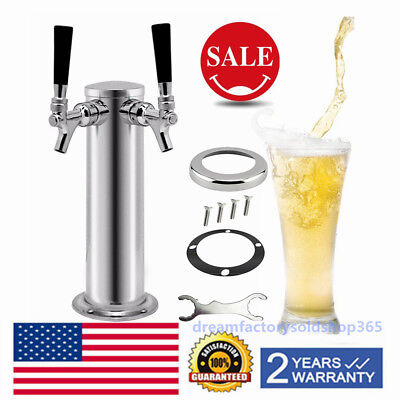 2 Faucet Double Taps Draft Beer Tower For Kegerator Stainless Steel Silver