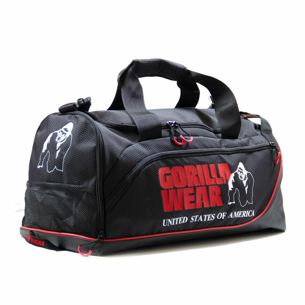GORILLA WEAR Jerome Gym Bag Bodybuilding and Fitness Gym Bag Men Black//Red
