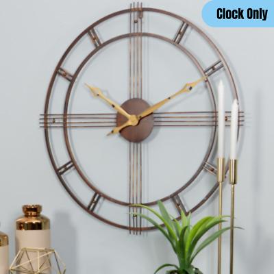 Mid-Century Round Metal Wall Clock Minimalist Design Rustic Brown/Gold Finish