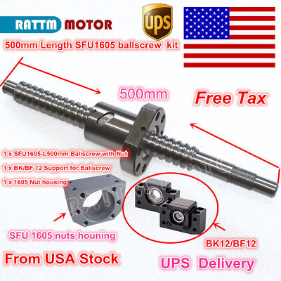 Us Stock Ballscrew Sfu1605-l500mm With Nutbkbf 12nut Housing For Cnc Router