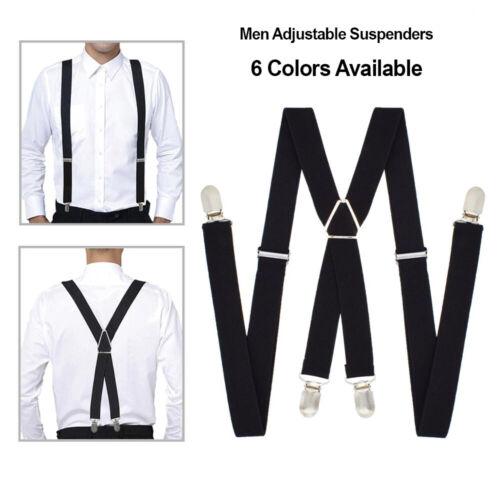 "Men Braces X-shape Suspenders Polyester Elastic Adjustable Belt 1"" Wide 6 Colors"