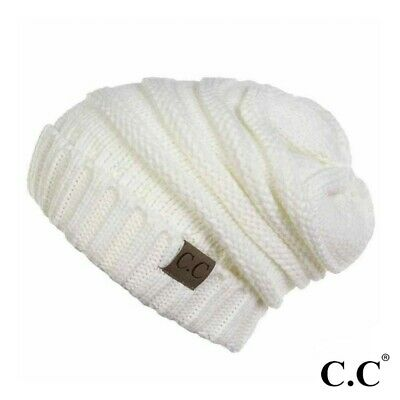 Ribbed Knit Slouchy C.C Beanie Hat - Ivory Ivory Knit Hat