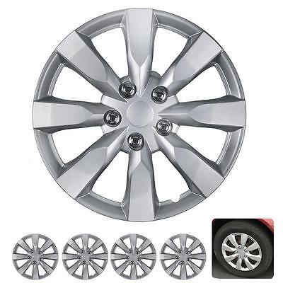 4 PC Set 16 Inch Hub Caps Silver Fits 2014 Toyota Corolla Replica Wheel Covers