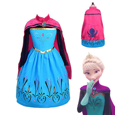 Anna Long Sleeve Princess Costume Girl Halloween Party Cosplay Dress Gown & Cape