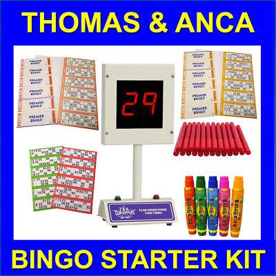 Bingo Starter Kit with Lucky Bingo Machine, Bingo Tickets & Bingo Dabbers