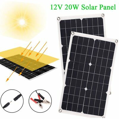 Supple Monocrystalline 20W 5V/12V Solar Panel Battery Charger RV In/Outdoor BE
